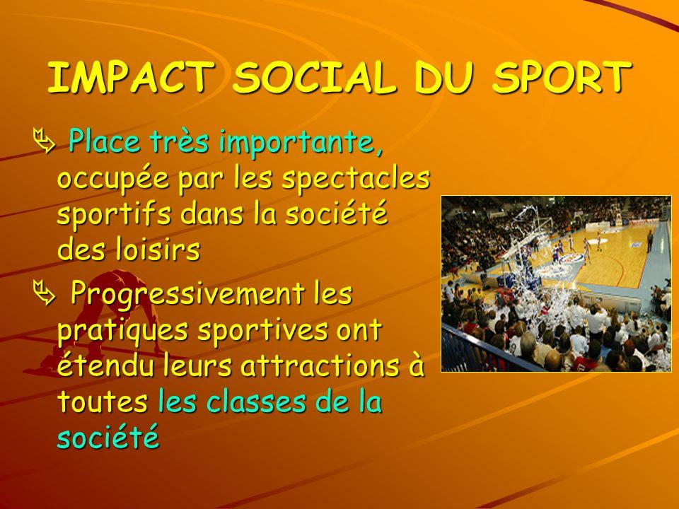 IMPACT SOCIAL DU SPORT  Place très importante, occupée par les spectacles sportifs dans la société des loisirs.