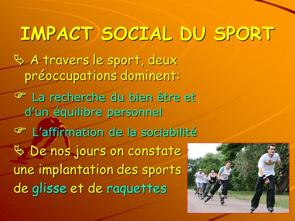 IMPACT SOCIAL DU SPORT  A travers le sport, deux préoccupations dominent:  La recherche du bien être et d'un équilibre personnel.