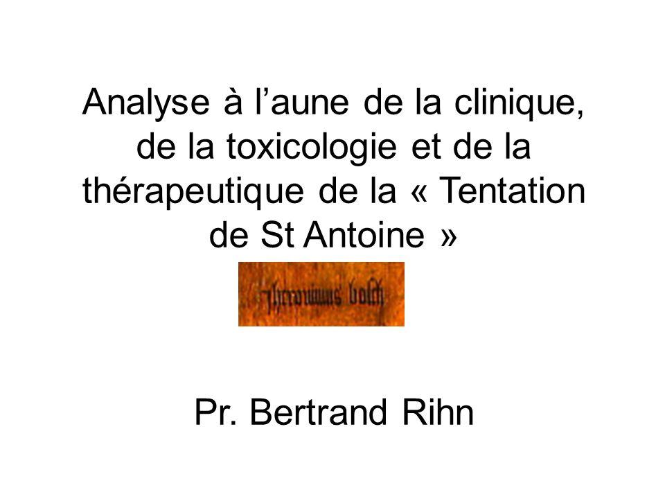 Analyse à l'aune de la clinique, de la toxicologie et de la thérapeutique de la « Tentation de St Antoine »