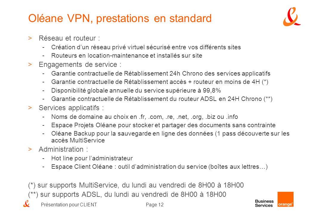 Oléane VPN, prestations en standard