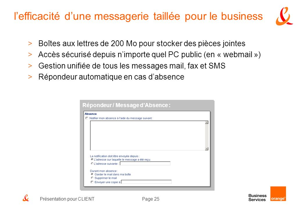 l'efficacité d'une messagerie taillée pour le business