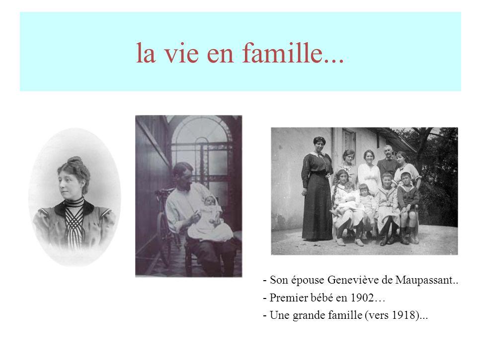 la vie en famille... - Son épouse Geneviève de Maupassant..