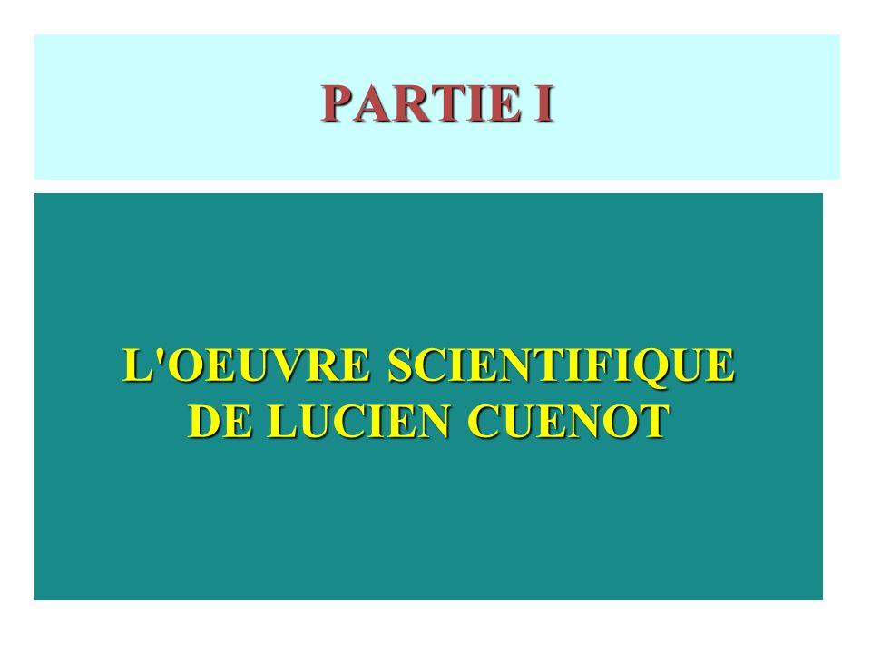 L OEUVRE SCIENTIFIQUE DE LUCIEN CUENOT