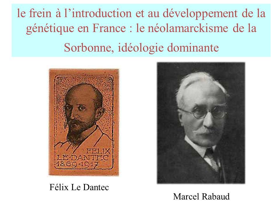 le frein à l'introduction et au développement de la génétique en France : le néolamarckisme de la Sorbonne, idéologie dominante