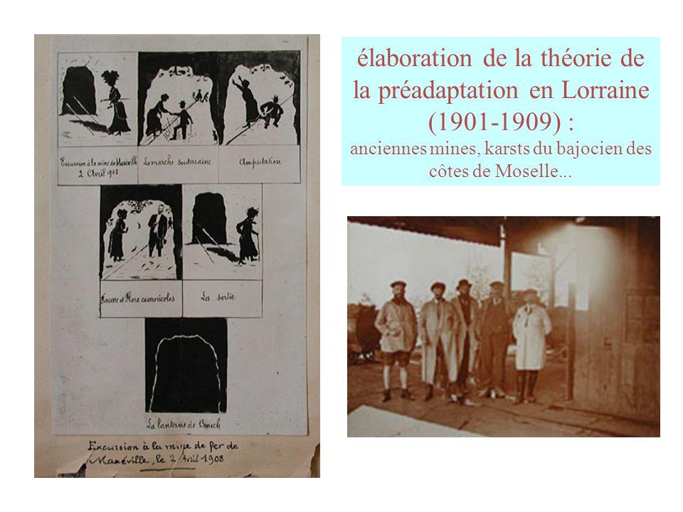 élaboration de la théorie de la préadaptation en Lorraine (1901-1909) : anciennes mines, karsts du bajocien des côtes de Moselle...