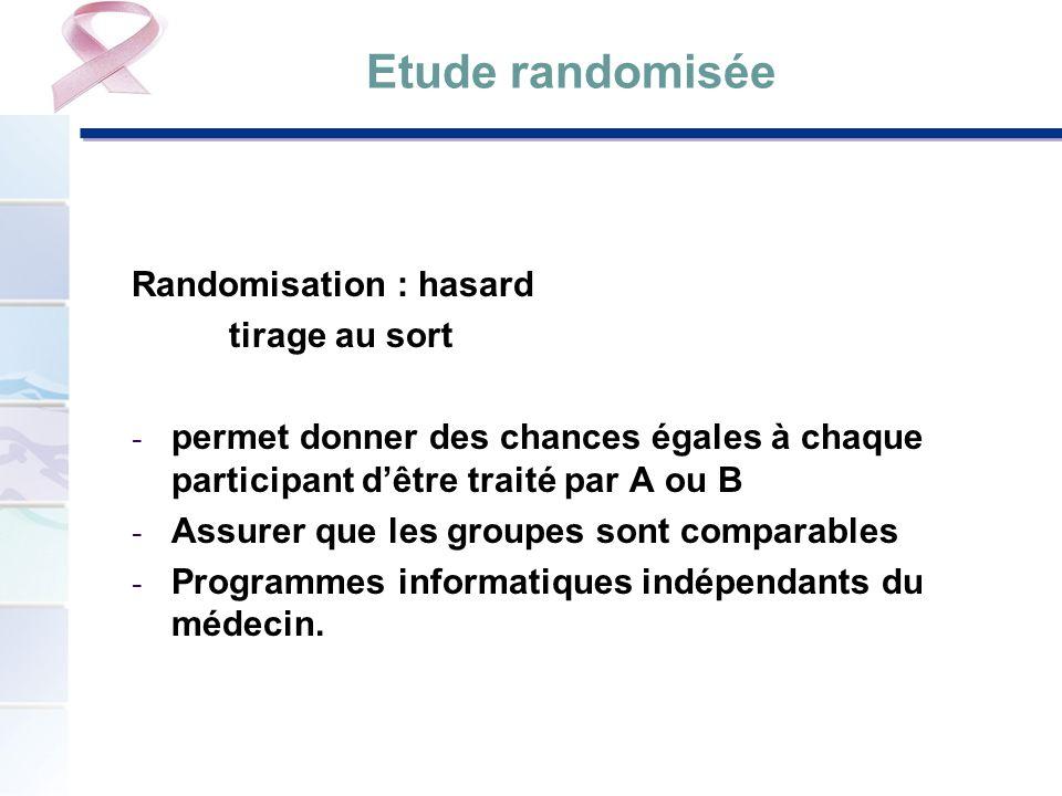 Etude randomisée Randomisation : hasard tirage au sort