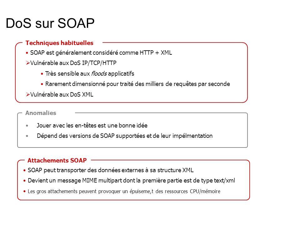 DoS sur SOAP Techniques habituelles