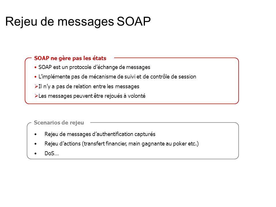 Rejeu de messages SOAP SOAP ne gère pas les états