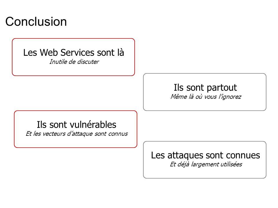 Conclusion Les Web Services sont là Ils sont partout