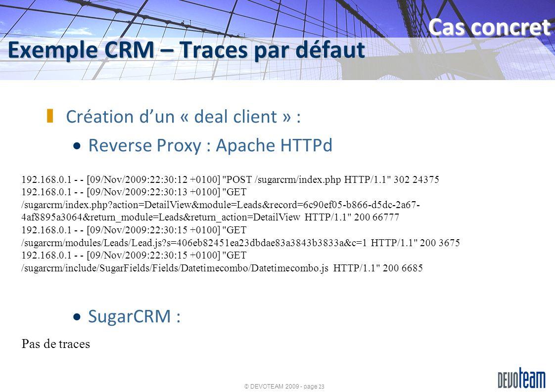 Exemple CRM – Traces par défaut