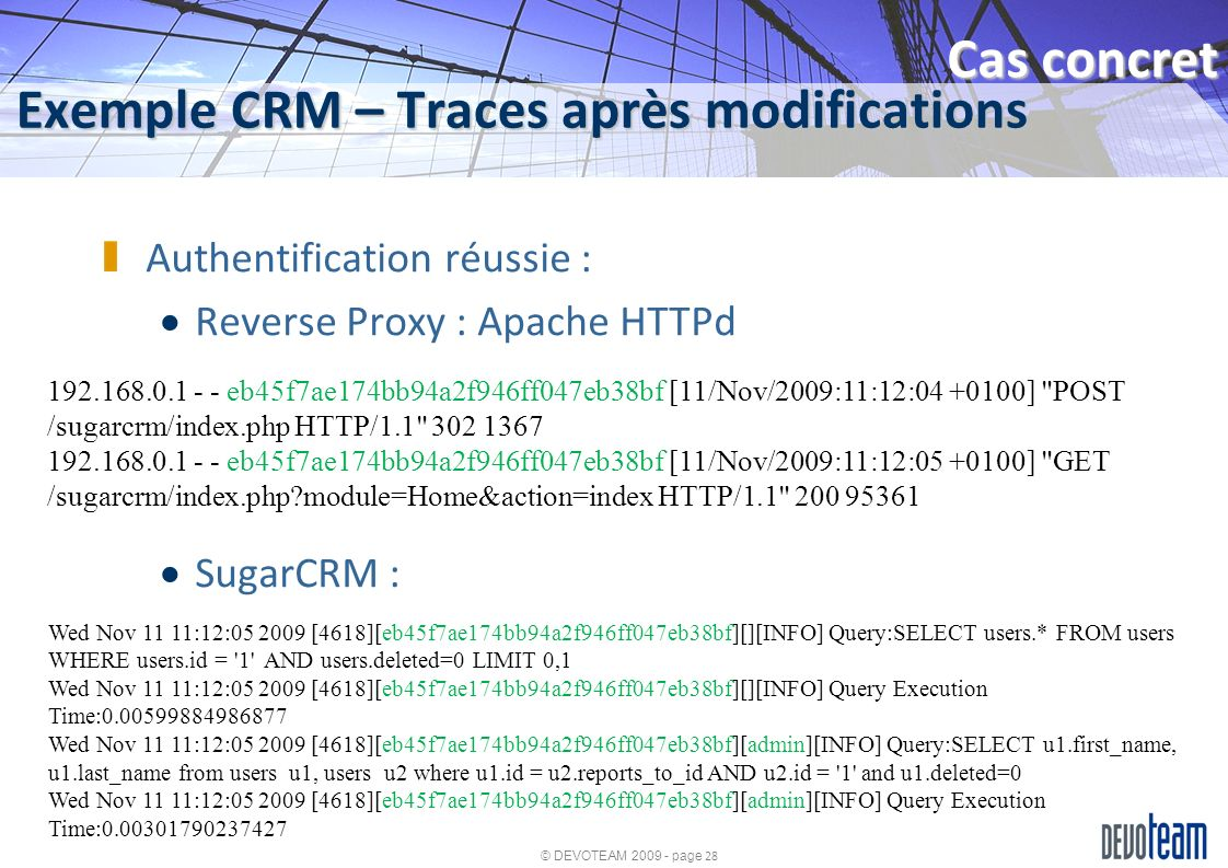Exemple CRM – Traces après modifications