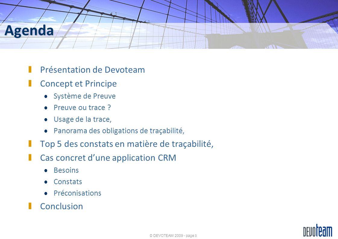 Agenda Présentation de Devoteam Concept et Principe