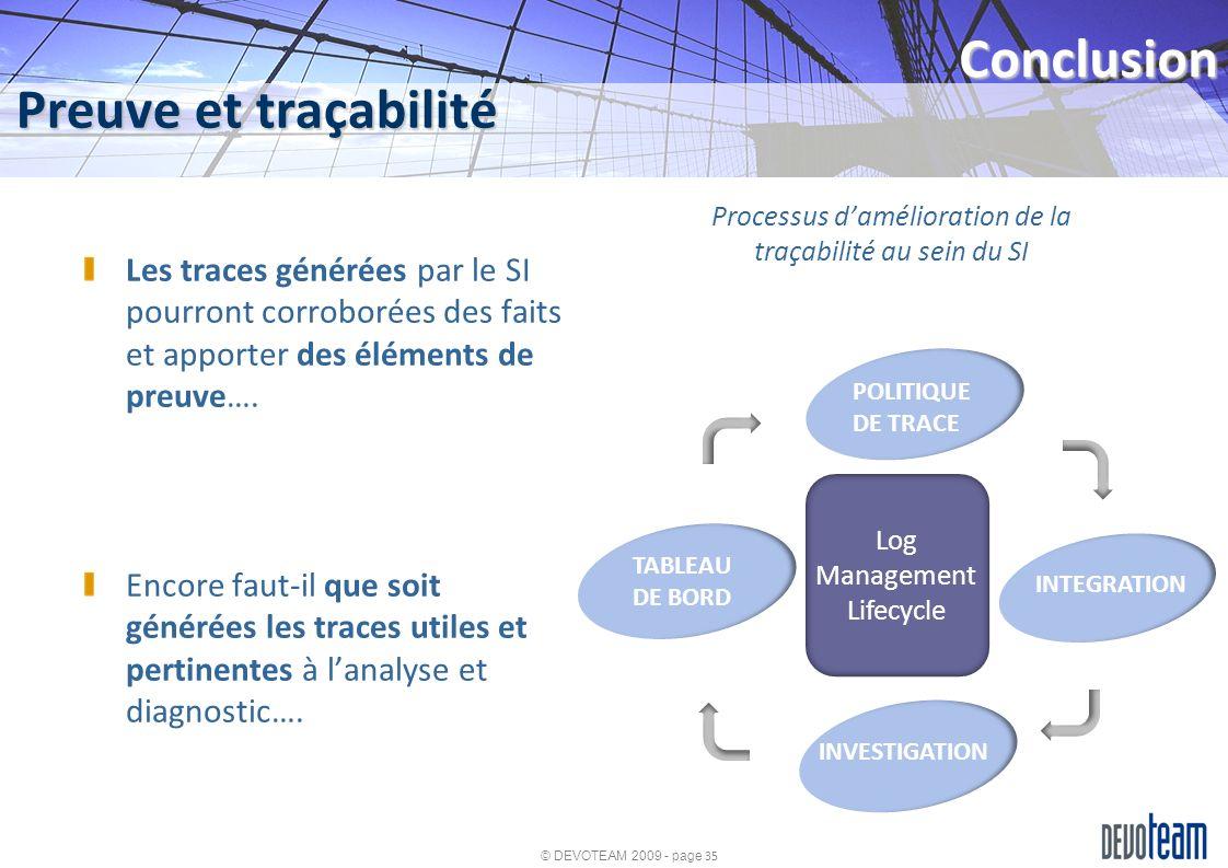 Processus d'amélioration de la traçabilité au sein du SI