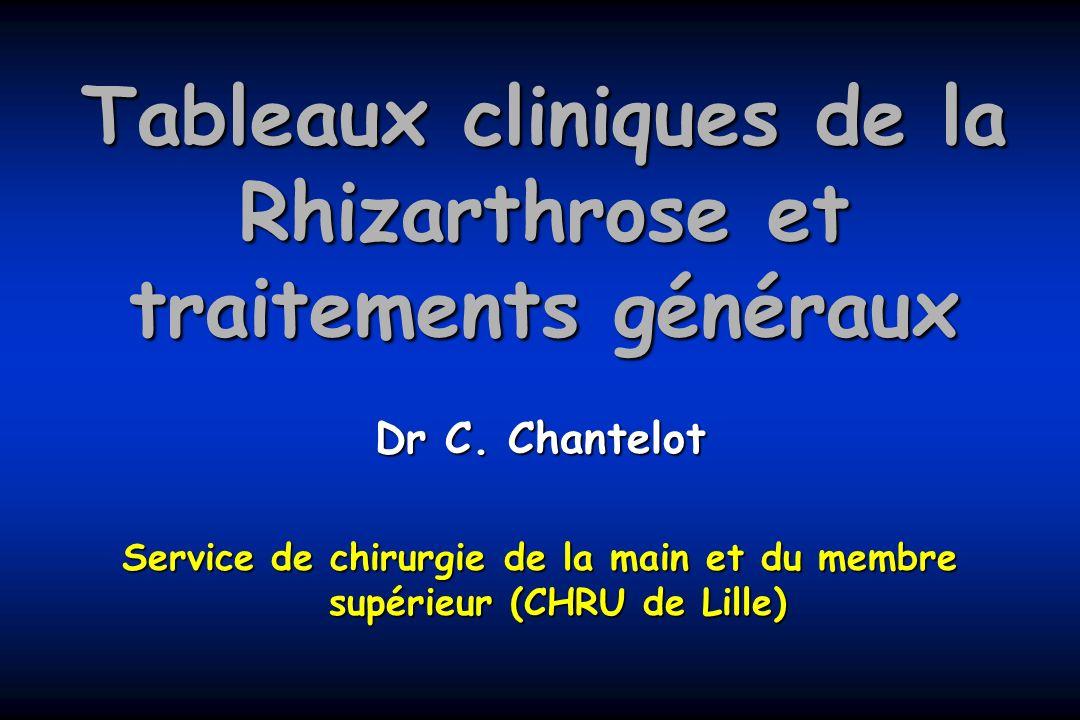 Tableaux cliniques de la Rhizarthrose et traitements généraux