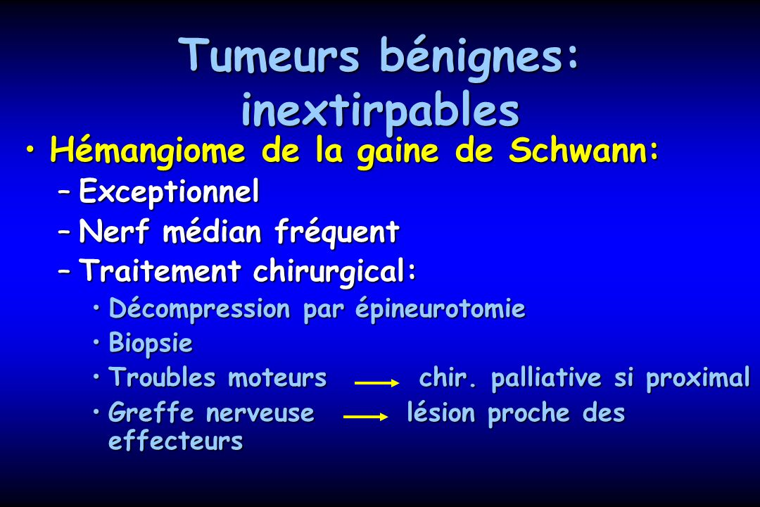 Tumeurs bénignes: inextirpables