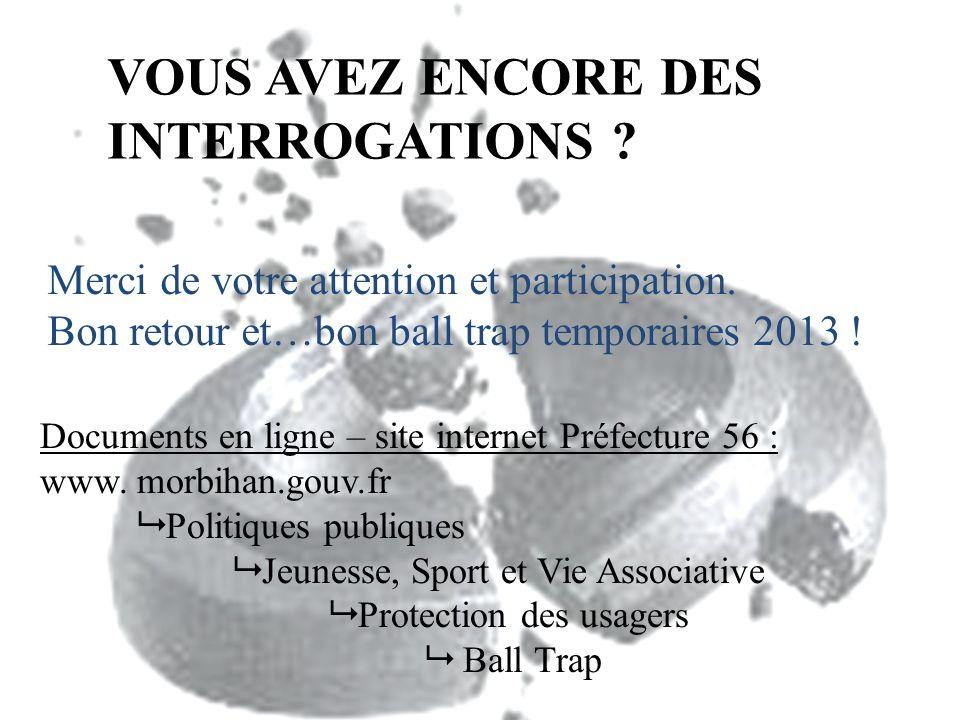 VOUS AVEZ ENCORE DES INTERROGATIONS