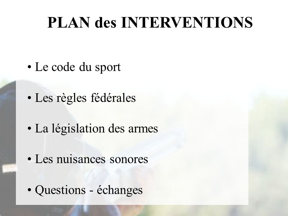 PLAN des INTERVENTIONS
