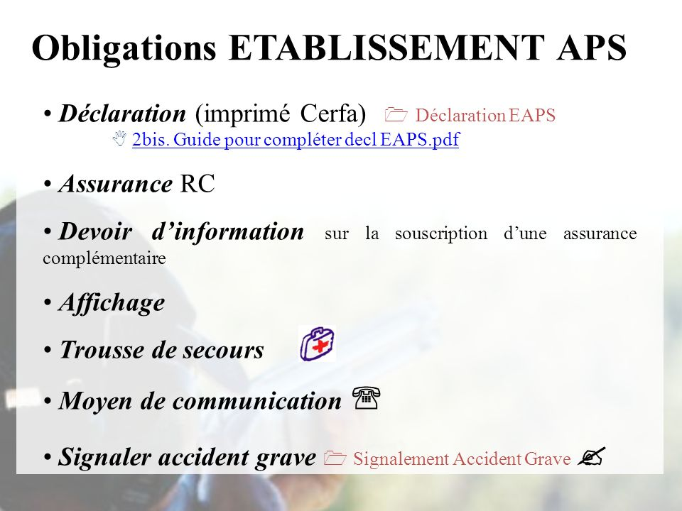 Obligations ETABLISSEMENT APS
