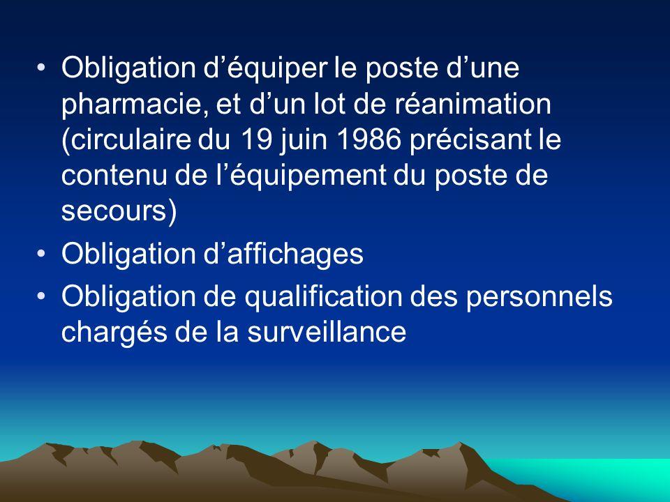 Obligation d'équiper le poste d'une pharmacie, et d'un lot de réanimation (circulaire du 19 juin 1986 précisant le contenu de l'équipement du poste de secours)