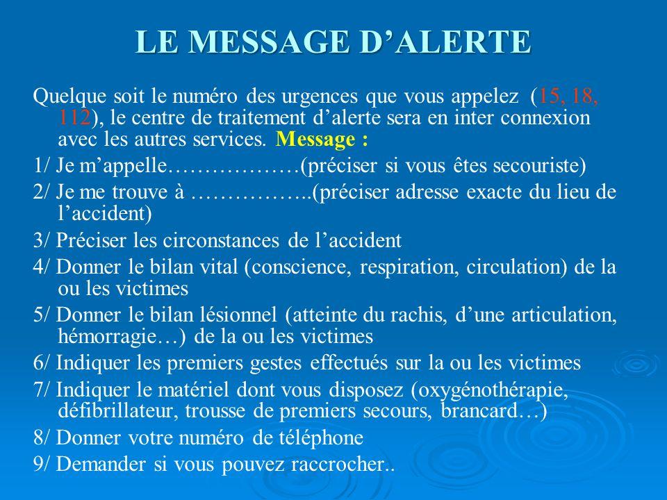 LE MESSAGE D'ALERTE