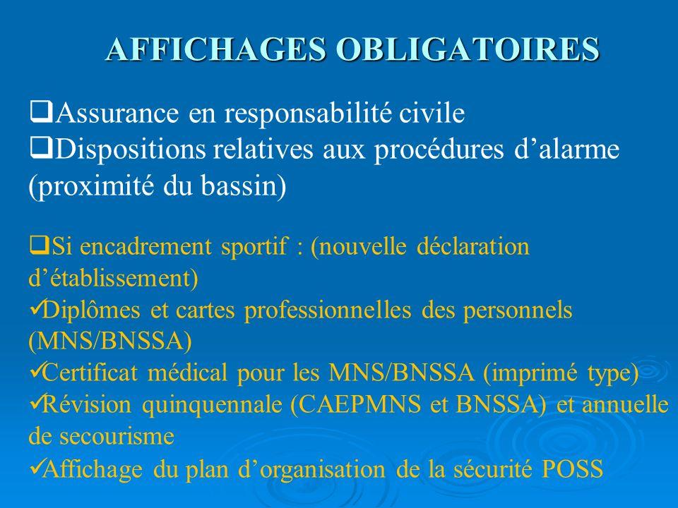 AFFICHAGES OBLIGATOIRES