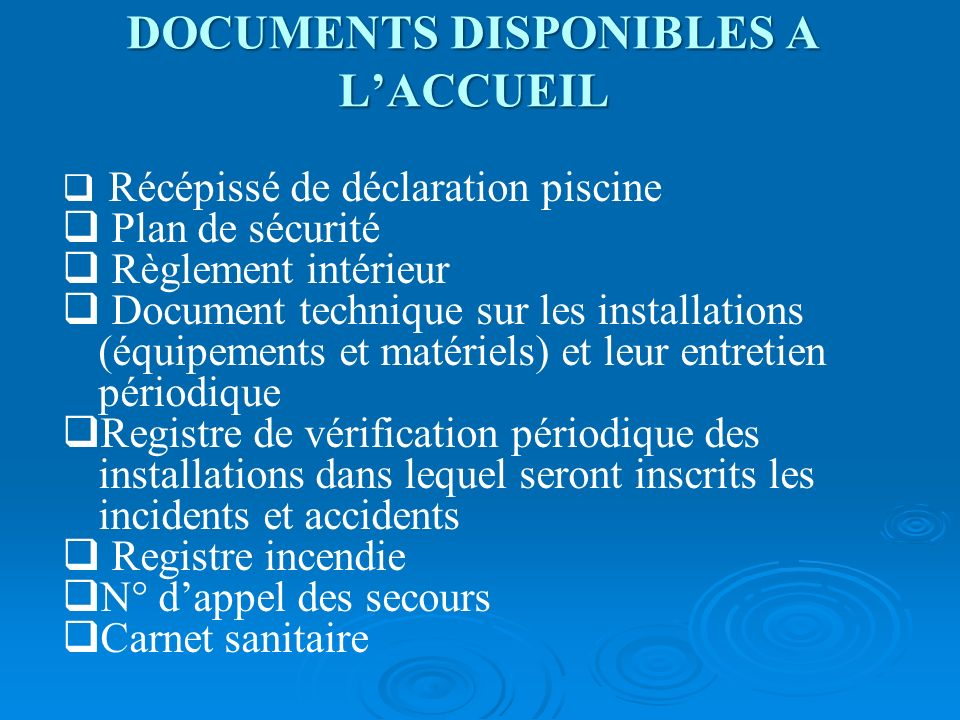 DOCUMENTS DISPONIBLES A L'ACCUEIL