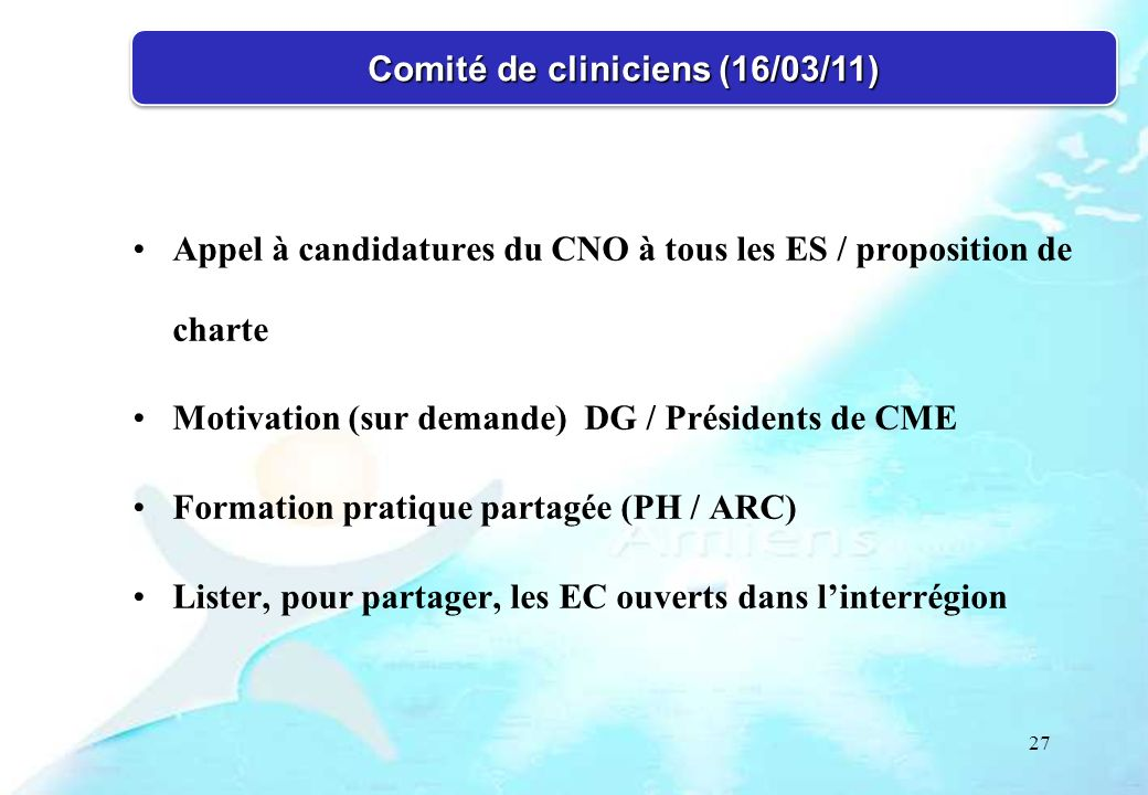 Comité de cliniciens (16/03/11)