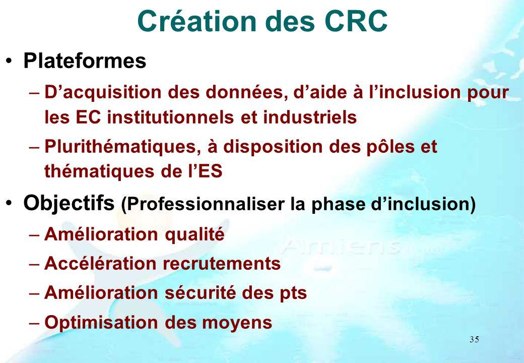 Création des CRC Plateformes