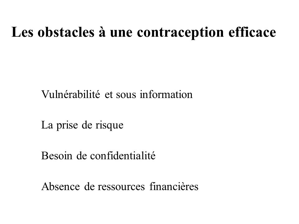 Les obstacles à une contraception efficace