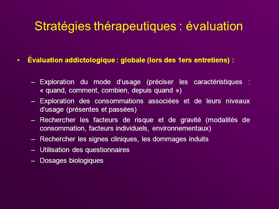 Stratégies thérapeutiques : évaluation