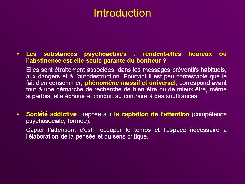 Introduction Les substances psychoactives : rendent-elles heureux ou l'abstinence est-elle seule garante du bonheur