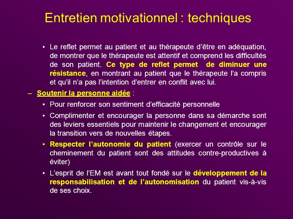 Entretien motivationnel : techniques