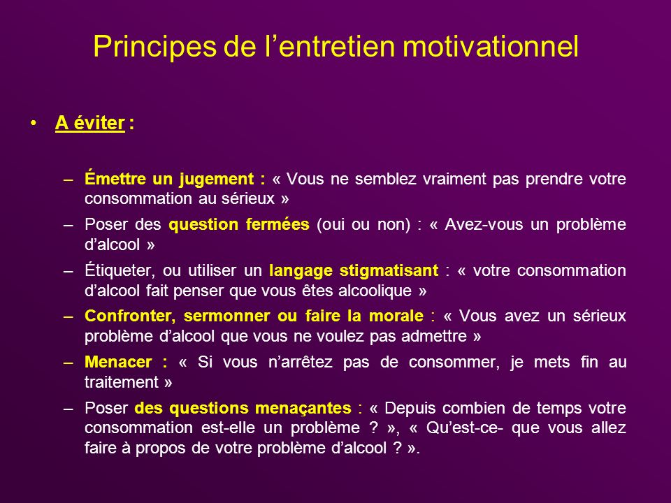 Principes de l'entretien motivationnel