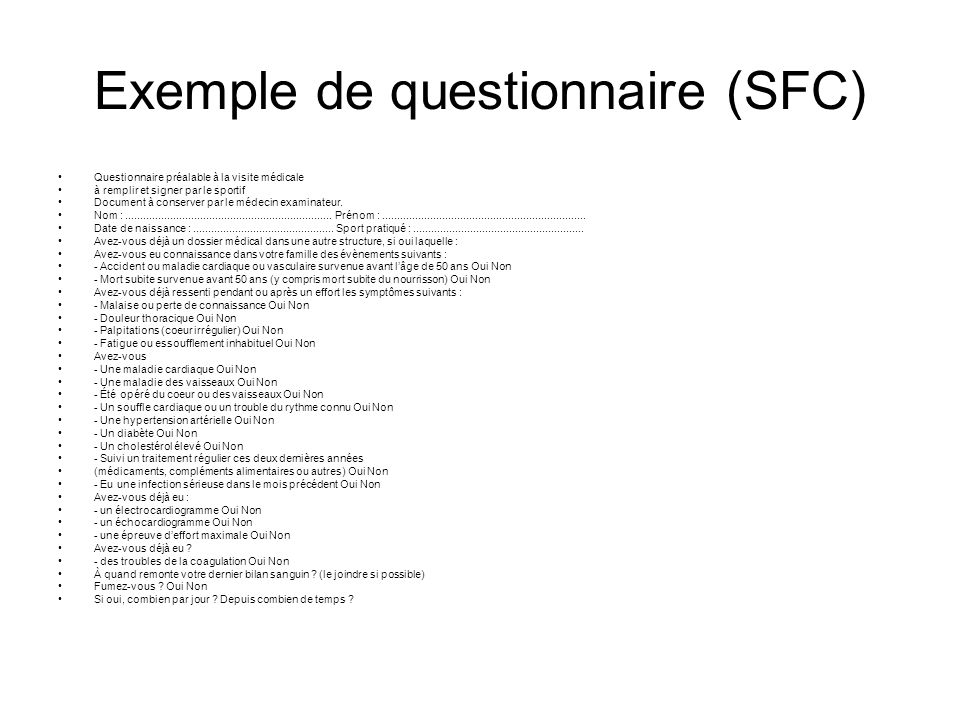 Exemple de questionnaire (SFC)