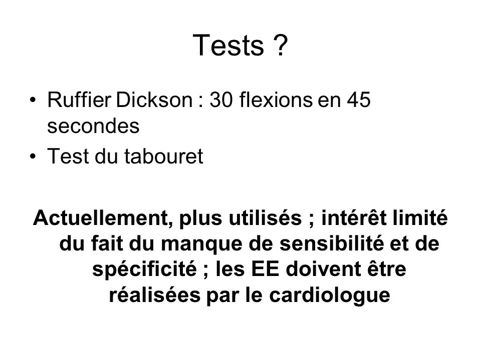 Tests Ruffier Dickson : 30 flexions en 45 secondes Test du tabouret