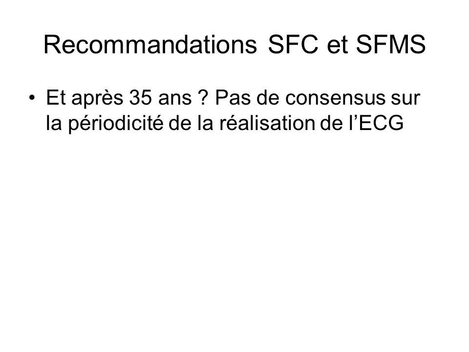 Recommandations SFC et SFMS