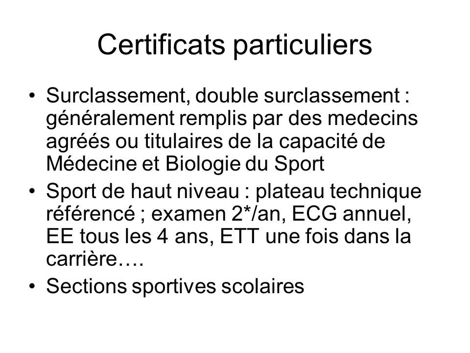 Certificats particuliers
