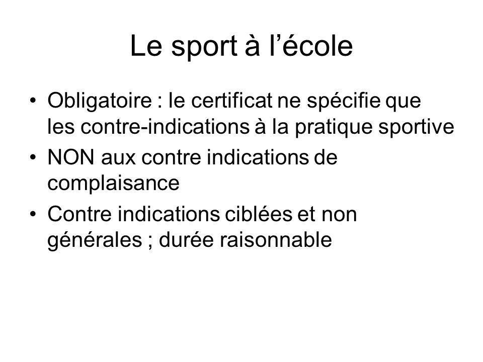 Le sport à l'école Obligatoire : le certificat ne spécifie que les contre-indications à la pratique sportive.