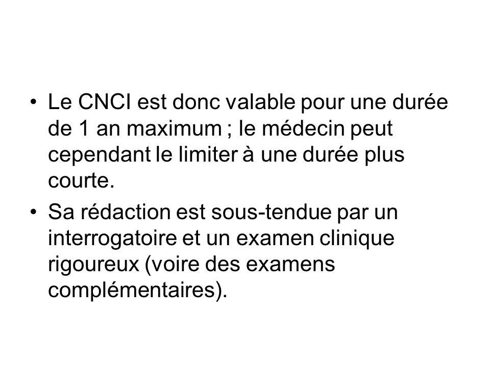Le CNCI est donc valable pour une durée de 1 an maximum ; le médecin peut cependant le limiter à une durée plus courte.