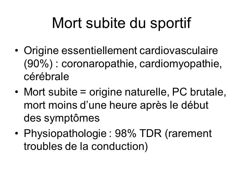 Mort subite du sportif Origine essentiellement cardiovasculaire (90%) : coronaropathie, cardiomyopathie, cérébrale.