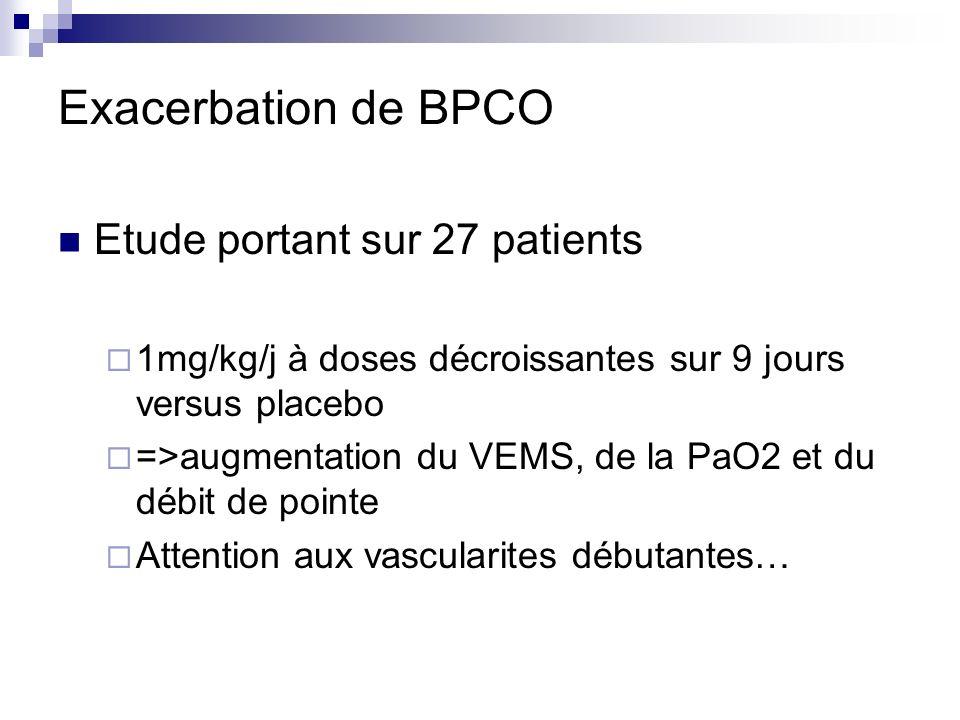 Exacerbation de BPCO Etude portant sur 27 patients