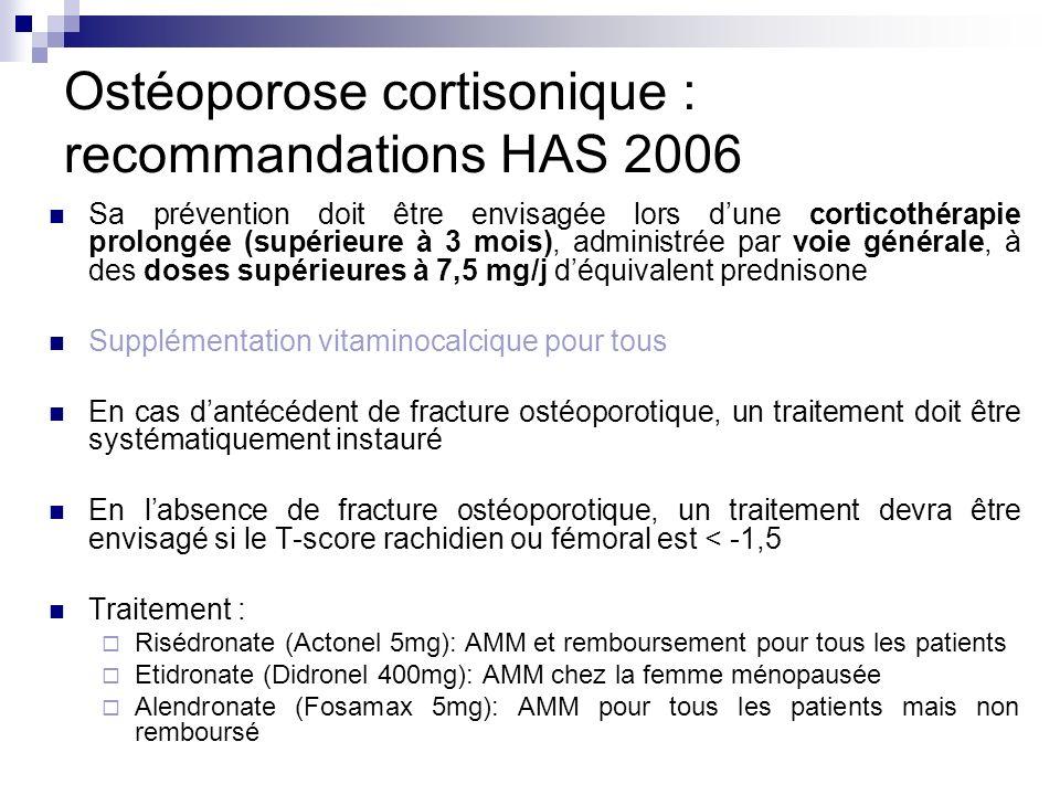 Ostéoporose cortisonique : recommandations HAS 2006