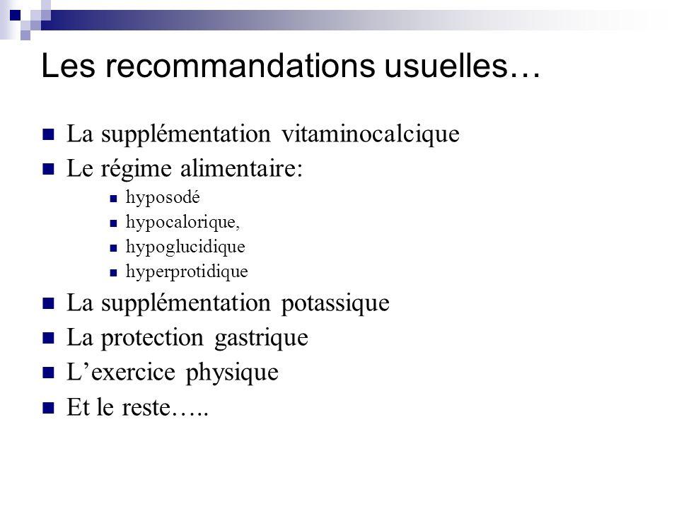 Les recommandations usuelles…
