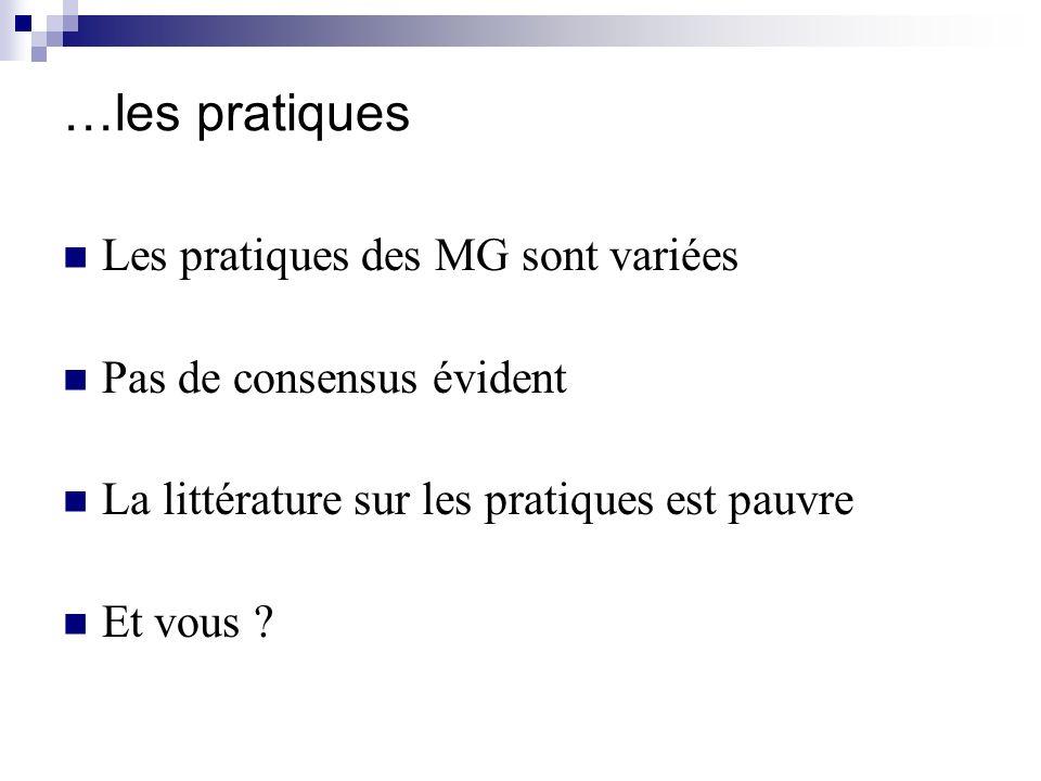 …les pratiques Les pratiques des MG sont variées