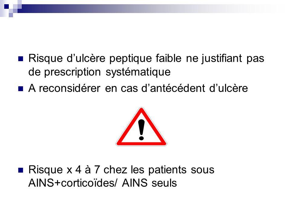 Risque d'ulcère peptique faible ne justifiant pas de prescription systématique