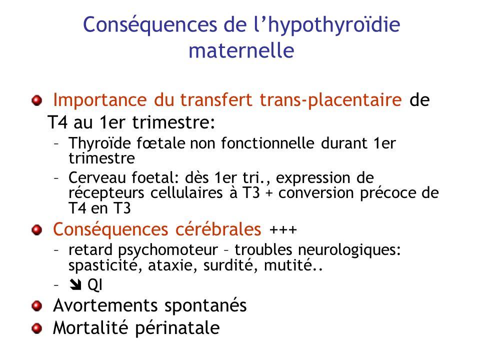 Conséquences de l'hypothyroïdie maternelle
