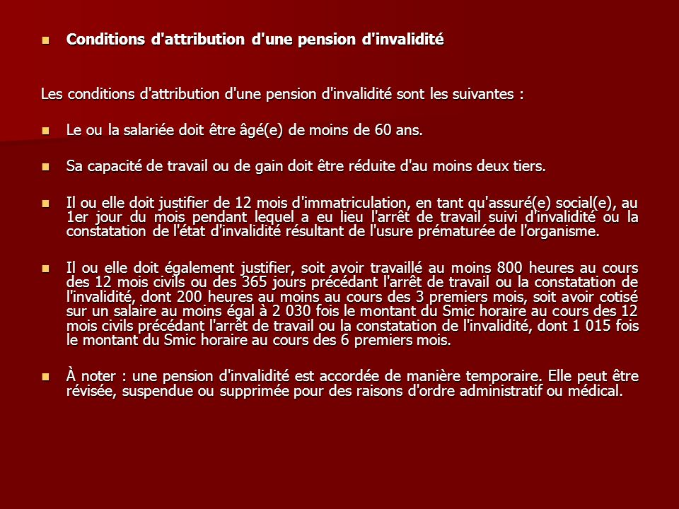 Conditions d attribution d une pension d invalidité