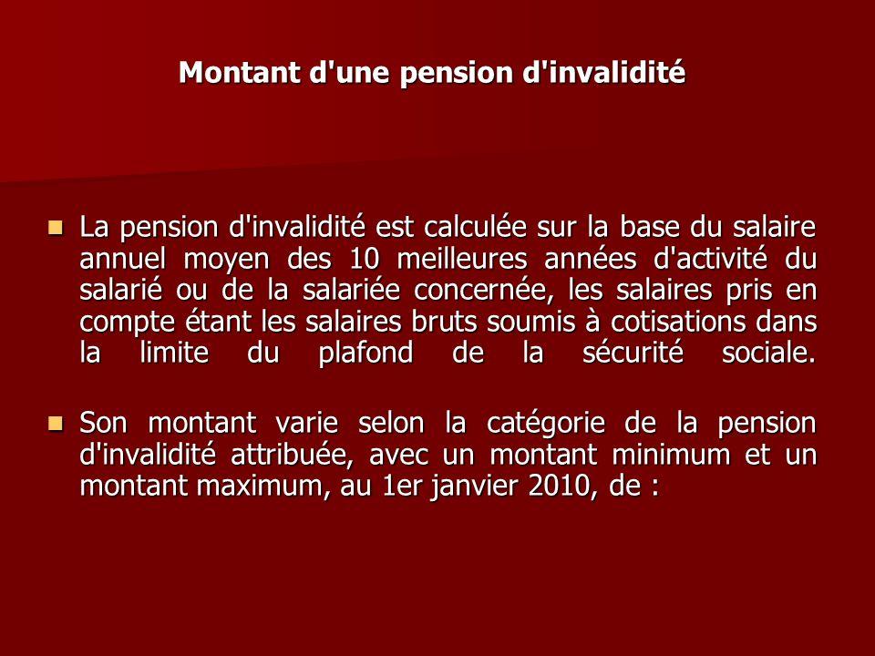Montant d une pension d invalidité