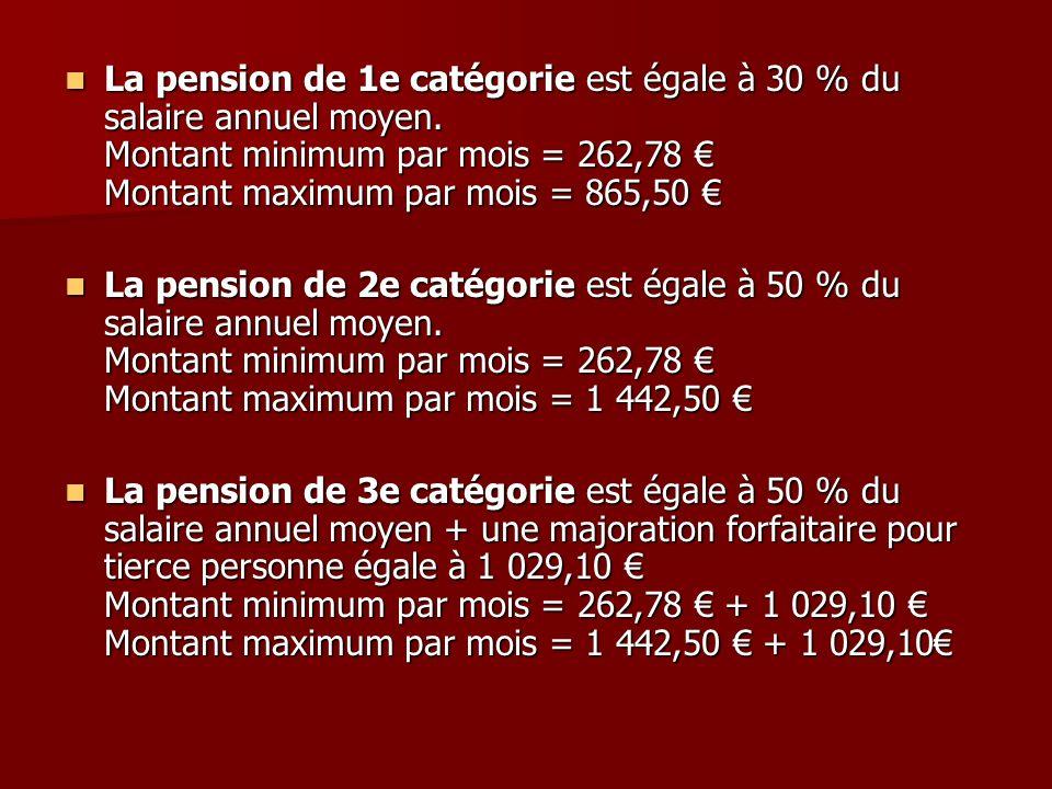 La pension de 1e catégorie est égale à 30 % du salaire annuel moyen