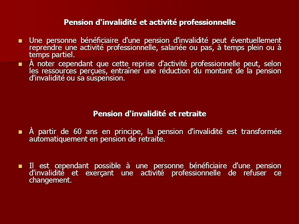 Pension d invalidité et activité professionnelle